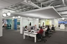 Waffle slab, open areas, materials, day-lighting, breakout spaces, exposed conference space
