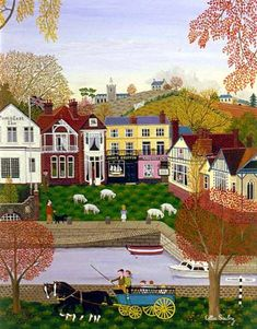 Oil Paintings by Cellia Saubry French Naive Artist Small Harbor Art And Illustration, Illustrations, Henri Rousseau, Naive Art, Outsider Art, Whimsical Art, Landscape Art, Home Art, Amazing Art