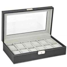 Watch 168164 Watch Box 6 Mens Jewelry Case Black Leather Display
