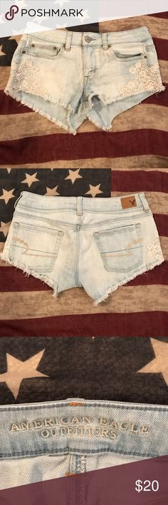 American Eagle Lacy Denim Shorts These are denim cut-off shorts from American Eagle with lace detailing on the sides. They are a size four, but have been stretched out a bit due to previous love and wear. They look cute with about anything! Try-ons available upon request! American Eagle Outfitters Shorts Jean Shorts