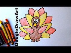 How To Draw a Cartoon Thanksgiving Turkey - Easy Cartoon Style Drawing Tutorial for Kids! - YouTube