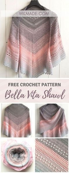 Crochet Poncho Bella Vita Shawl By Wilma Westenberg - Free Crochet Pattern - (wilmade) - Looking for a free crochet shawl pattern? Here you can find one of my most popular triangle shawl patterns called Bella Vita Shawl. Poncho Au Crochet, Crochet Bolero, Beau Crochet, Pull Crochet, Crochet Shawls And Wraps, Love Crochet, Crochet Scarves, Beautiful Crochet, Crochet Clothes