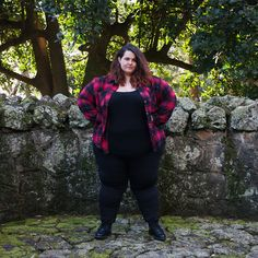 9c6c4b81d1c1 New Zealand plus size blogger Meagan Kerr wears Kate Madison Check Shirt  Curvy Fashion