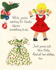 FOR A DARLING GRANDDAUGHTER ~ Norcross Paper Doll Christmas Card 1956 (#25N 958) <> 3 of 9