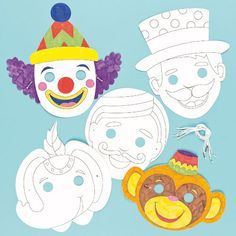 Circus Colour in Craft Masks for Children to Decorate  Wear as a Part of a Costume at a Fancy Dress Party Pack of 6 -- Visit the image link more details.