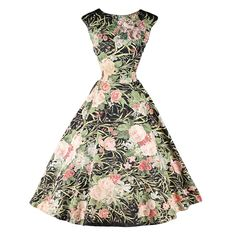 1stdibs.com | Vintage 1950's Polished Cotton Floral Sequins Dress