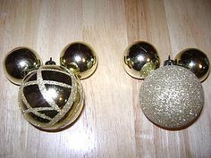 "Handmade, cheap Mickey Mouse ornaments! So easy!    Follow me at...  ""Keeping Up With the Joneses""  http://zachandashleyjones.blogspot.com/2011/12/our-disney-christmas-tree.html"