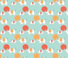 Elephant Love Blue fabric by candmedesigns on Spoonflower - custom fabric
