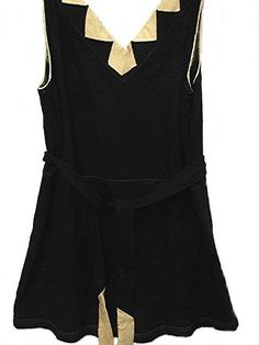 """1920s bathing suit of black wool trimmed in an off-white ecru Art Deco design at V-neck. Back of bathing suit is rounded deep cut. Waist has an attached tie belt in black and off-white ecru matching the art deco design at neckline. Bottom of bathing suit has an over skirt. Label: """"Nautical Togs"""" via bonitalouise."""