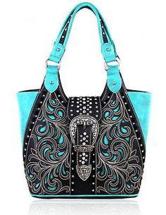 Montana West® Concealed Carry, Silver Longhorn Buckle Shoulder Bag - Black