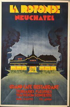 """MONOGRAMM – Vintage poster – """"La Rotonde"""" famous art deco café-restaurant in Neuchâtel, Switzerland. The background of the poster is a dark blue. Poster Art, Retro Poster, Sale Poster, Poster Prints, Art Deco Posters, Fürstentum Liechtenstein, Deco Cafe, Café Restaurant, Famous Art"""