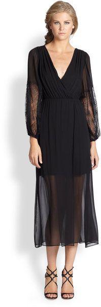 Alice + Olivia Black Saori Silk Lacetrim Combo Dress