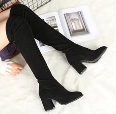f591e64c9eb351 Womens Over Knee Boots Chunky High Heels Suede Pull On Casual Shoes Knight  M508 Chunky High
