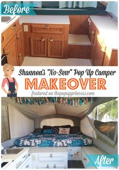 Don't sew?  No problem.  You can still beautify your pop up camper, even if your sewing skills aren't up to par.  Shannon's whole makeover was completed without sewing a stitch.