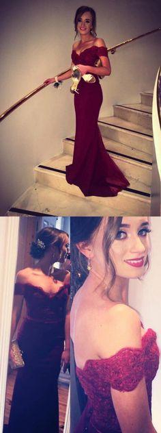 Burgundy Prom Dress,Satin Evening Dress,Lace Prom Dress,Off the Shoulder Prom Dress,Floor Length Evening Dress,Mermaid Style Party Dress