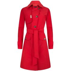 PIOGG All-Weather Fashion Coats - Red Waterproof Trenchcoat (31.460 RUB) ❤ liked on Polyvore featuring outerwear, coats, trench coat, red rain coat, trench raincoat, color block coat and lightweight rain coat