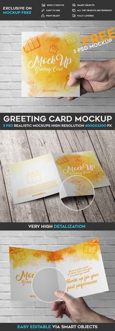 3 Free Greeting Card PSD Mockups | Free PSD Templates | #free #photoshop #mockup #psd #greeting #card