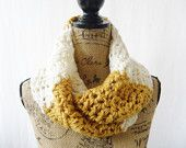Ready To Ship The Reagan Mustard Gold Ivory Off White Crochet Infinity Scarf Cowl Chunky Neck Warmer 124