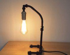 Lampada da tavolo di stile retrò, industriale, rame tubo