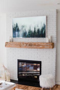 How to Make the Samsung Frame TV Look Like Art - Lauren McBride - amy Ultra Wallpaper, Craftsman Home Exterior, Tv Over Fireplace, Beach Fireplace, Fireplace Art, Connecticut, Framed Tv, A Frame Cabin, Rustic Design