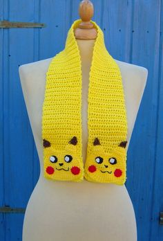 Crochet Pokemon Yellow Pikachu Scarf - Adult or Childs - Made to Order