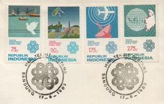 vintage Indonesian airmail stamps and awesome postmark