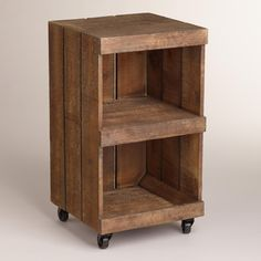 "I see this and think "" Hmmm, small casters from home improvement store couple bucks. raw wood crate from craft store, ( or build it my self.) wood glue, wood screws.stain, (or wax.) wood to cut down to size for shelf myself or have them cut it to spec for me. vwala!"