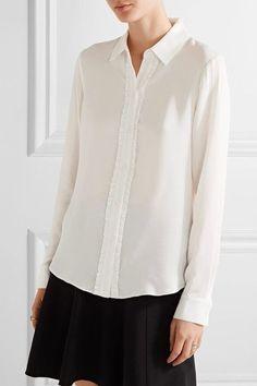 MICHAEL Michael Kors - Ruffle-trimmed Silk Crepe De Chine Shirt - White - xx small