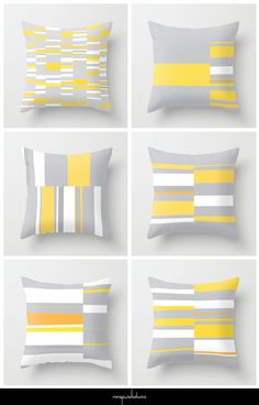 Abstract, organic, geometric artworks in the color palette yellow, gray and white with accent colors dark grey and orange. The lines and rectangular shapes have an irregular and deliberately wonky aesthetic. Illuminating Yellow and Ultimate Gray are the Pantone colors of the year 2021. #homedecor #pantone #colour #interior #trends #interiordesign Mosaic Series Yellow Gray White Orange by Menega Sabidussi.