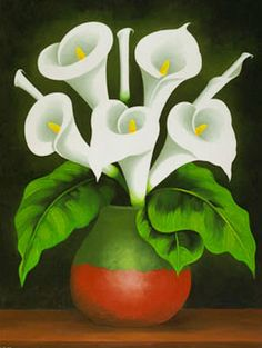 Paintings, paintings, oils: Vases oil painting rnrnSource by Lily Painting, Flower Painting Canvas, Abstract Canvas, Watercolor Paintings, Calla Lillies, Calla Lily, Mexican Paintings, Beautiful Flower Drawings, Small Canvas Art