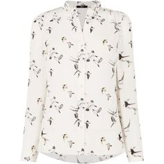 Oasis Bird Print Shirt ($55) ❤ liked on Polyvore featuring tops, women, white top, polyester shirt, white shirt, feather shirt and oasis shirt
