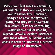 When you first meet a narcissist, you will think they are nice, honest and trustworthy. Narcissistic People, Narcissistic Mother, Narcissistic Abuse Recovery, Narcissistic Behavior, Narcissistic Sociopath, Narcissistic Personality Disorder Relationships, Trauma, Ptsd, Affirmations