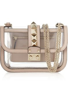 Valentino | Glam Lock studded PVC and leather shoulder bag via @Annette Nokes-A-PORTER.COM <3