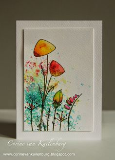 Corine's Gallery: Brusho and Jofy stamps Watercolor Cards, Watercolor Flowers, Watercolor Paintings, Watercolour, Paint Cards, Flower Doodles, Creative Cards, Flower Cards, Doodle Art