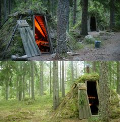 Experience simple nature living without electricity & plumbing at Kolarbyn Forest Huts in Skinnskatteberg, Sweden