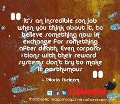 Gloria Steinem #religion #atheism quote by The Celestial Teapot magazine. Get a free magazine at www.facebook.com/celestialtpot