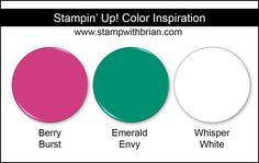 Stampin' Up! Color Inspiration: Berry Burst, Emerald Envy, Whisper White