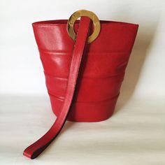 Celine Paris Red Wide Stripe Lizard Leather Gold Logo Shoulder Bag Vintage  #Celine #ShoulderBag