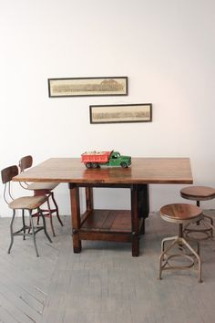 Vintage Industrial Dining Table/ Kitchen Island | eBay. Made using a salvaged antique table saw. www.DorsetFinds.com