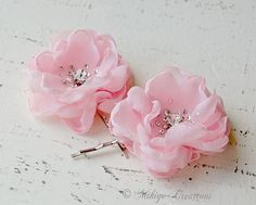 Wedding Accessories, Flower Girl Hair Pins,  Bridesmaids Gifts,  Bridal Mini Pastel Pink Hair Flower Bobby Pins - Christie in Pink on Etsy, $34.00