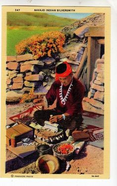 D387 Postcard Linen Era Native American Indian Navajo Silversmith