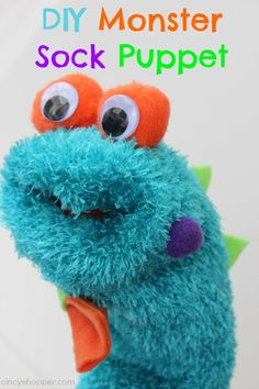 This DIY Monster Sock Puppet is so adorable and you will have a blast making this cute craft. I mentioned earlier today in my Amazon Puppet Roundup how much