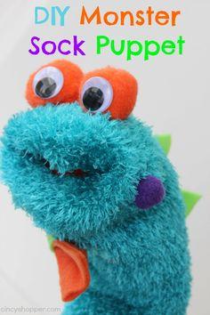DIY Monster Sock Puppet. Super cheap! My little guy loves his new monster.