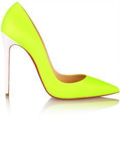 Christian Louboutin So Kate 120 neon leather pumps