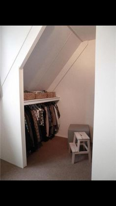 Attic Closet, Master Bedroom Closet, Walk In Closet, Home Bedroom, Home Office Storage, Attic Storage, Storage Spaces, Floating Shelves Bedroom, Barn Apartment