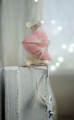 heart- Dreamy White Felt Mouse With A Heart - Needle Felted - Art Doll FeltArtByMariana on Etsy