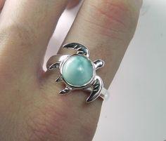 Want this.  Sea Turtle Ring - Larimar Turtle Jewelry - Unique Gemstone Sterling Silver Turtle Totem - Nautical Sea Life - Aqua Blue Turquoise. $95.00, via Etsy.