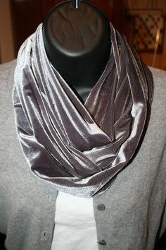10b3e9fdde Silver Gray Washable Velvet Infinity Scarf