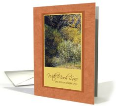 With Much Love on Thanksgiving Autumn's Twilight Trees card