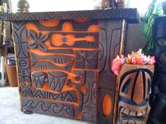 Love this bar!  Love the additions that this person used with carving the graphics - bongos, uke and more!